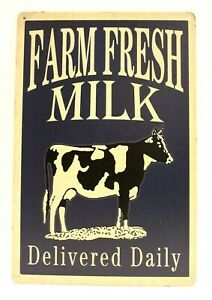 Farm Fresh Milk Tin Poster Sign Vintage Style Delivered Daily Dairy Cow Market
