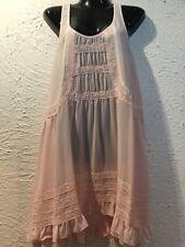 NEW WITH TAG DESIGNER ANTHROPOLOGIE PINK ROSE SHIFT CROCHET SLEEVELESS DRESS $78
