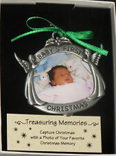 Baby's First Christmas Photo Ornament Angels Pewter Personalize With Picture New