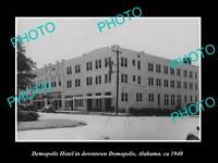 OLD POSTCARD SIZE PHOTO OF DEMOPOLIS ALABAMA VIEW OF THE DEMOPOLIS HOTEL c1940