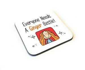 Cartoon Style Funny Ginger Bestie Best Friends Wooden Gift Coaster Idea Birthday