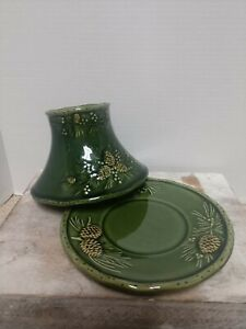 Vintage YANKEE CANDLE Fall Colors Green Pine Cones Shade & PLATE SET