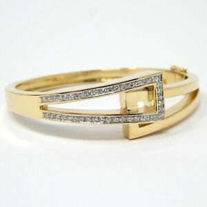 "14 kt Yellow Gold ""Crossover"" Diamond Hinged Bangle Bracelet 6 1/2"" A7226"