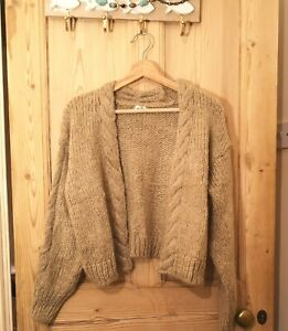 Ladies Edge to Edge Cardigan, Thick Cable Knit Long Sleeve Beige Colour Knitwear