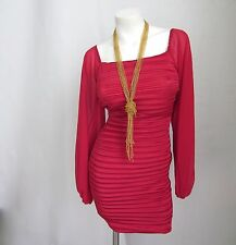 Red Dress Satin Pleated Pleat S Cocktail Party New Square Neck Long Sleeve NWT