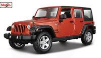 MAISTO SE TRUCKS 1:24 SCALE 2015 Jeep WRANGLER Limited DIECAST MODEL CAR Orange