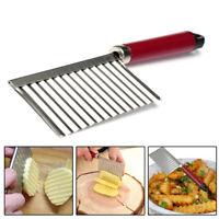 Stainless Steel Potato Wavy Cutter Chopper Vegetable Fruit Slicer Kitchen Tool