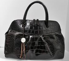 Furla Italy Espresso Brown Croc Leather Top Zip XL Satchel Bag