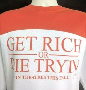 GET RICH OR DIE TRYIN' T-shirt L 2003 RARE! Movie Promo 50 Cent Gangsta Rap