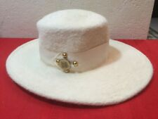 Adolfo Realites Duchess Boater Hats  Wide Brim Flat Pork Pie Caps Wool Italy