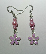 Dangle earrings - Lilac enamel flowers, glass pearls
