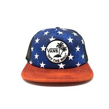 350088d1c1d Vans Red White Blue Star Trucker Baseball Cap New Hat Adjustable Patch Surf