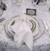 GLASS CHARGER PLATE BEADED SILVER XMAS EVENTS WEDDINGS 33CM DIAMETER
