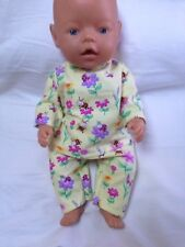 """DOLLS CLOTHES - Pyjamas to fit 17"""" Baby Born doll ~ Lemon Flowers And Bees"""