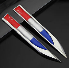 2pcs Auto Car Metal Knife Badge Emblem Decal Sticker Fender For France Flag NEW
