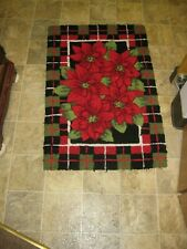 Christmas Poinsettia Holiday Floor Mat Rug Rectangle 30 X 20 Inches