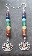 Chakra Gemstone Earrings 925 Sterling Hooks Lotus Buddha Yoga Reiki Healing Boho