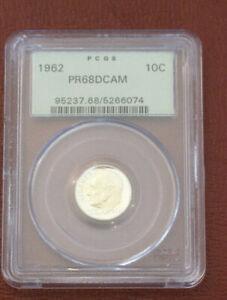 1962-P PCGS PR 68 DCAM ROOSEVELT DIME OLD GREEN HOLDER