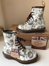 Bnib! Dr.Martens 1460 Grey Tapestry Floral Leather Boots Sz UK3 *Made In England