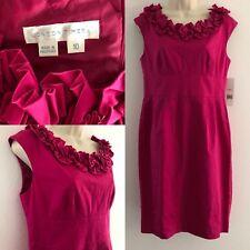 London Times Women's Sz 10 Ruffle Collar Sheath Dress Stretch Pink Cap Sleeve