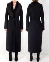 Womens Wool Maxi Coat Size 10 12 14 16 8 Faux Fur Winter Jacket Black