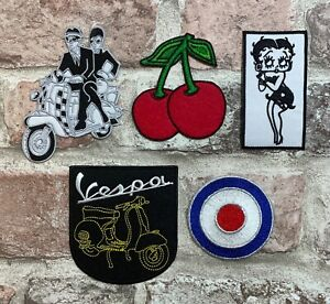 Scooter - SKA - Rockabilly - Cherries - MOD target Embroidered Scooter Patch