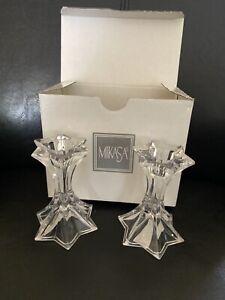 🔵Pair of Mikasa Firestar Candlestick Candle Holders NIB Elegant