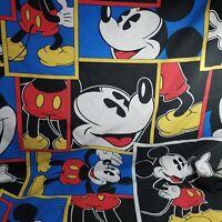 Mickey Mouse Twin Flat Sheet Disney Character Sheet Blue Yellow Black Red Mickey