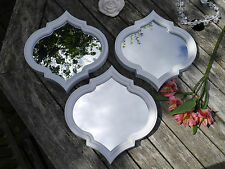 Set of 3 White Wall Hung Mirrors 25cm x 25cm Moroccan Style Bathroom Bedroom