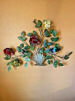 Vintage ITALY Metal Tole Colorful Floral Flowers Wall Home Decor