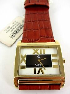 extravagante Alpha Fashion Damen Armbanduhr eckig Neu mit Etikett NP 69€ Leder
