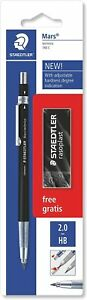 STAEDTLER 780 C BKP6 Mars Technico Mechanical Pencil with HB Lead and Eraser,Bla