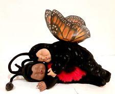 """Anne Geddes Sleeping Ladybug African American & Butterfly Plush Dolls 9"""""""