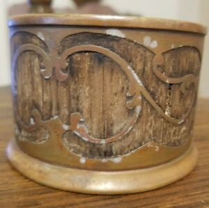 Unique Antique early 1900's  silver co st louis wood/brass coin container?