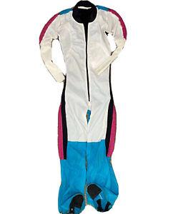 Skydiving Suit Jumpsuit Wind Line Retro Women Sz XS/S White Turquoise Black