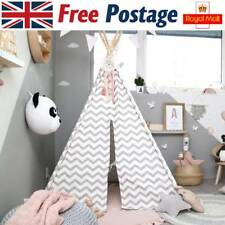 Teepee Play Tent for Kids Children Indoor Outdoor Grey Chevron Canvas 150cm Tall
