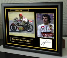 "Giacomo Agostini Isle of Man TT Motor Cycle Framed Canvas Signed ""Great Gift"" #3"