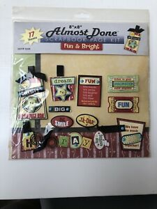 Hot off the Press Almost Done Scrapbook Page Kit Fun and Bright 17 Items