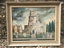 "Roy Porter 1965 Oil Painting On Board Signed Church and Graveyard 33""x27"" Framed"