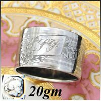 """Antique French Sterling Silver Napkin Ring, """"LF"""" Monogram, Floral, Guilloche"""