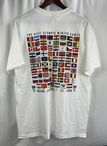 1998 Nagano Japan Olympics Shirt Large Countries Flags XVIII Winter Games NWOT