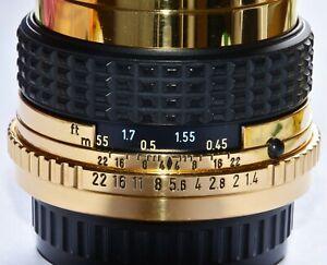 Pentax SMC-M 1:1,4 50 mm 24 Karat Gold Objektiv 24 carat gilded lens TOP