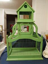 Vintage Victorian Wood & Wire Wooden Large Bird Cage. 27 In Tall