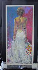 Gardani Original Oil on Canvas, Custom Framed, Latino artist, Woman Evening Wear