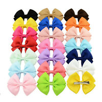 20pcs Baby Kids Girls Grosgrain Ribbon Bow Hair Clip Hairpin Alligator Clips SEA