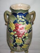 Antique 3 Footed Dual Handle Oriental Asian Scene Painted Raised Decor Vase NICE