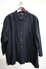 Style&co. Rayon & Linen Blend Black Button Down 3/4 Sleeve Top Size - 20W