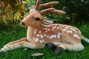 Big Cuddly Deer Plush Soft Toy Sitting Reindeer Animal with Sound Nice XMAS Gift