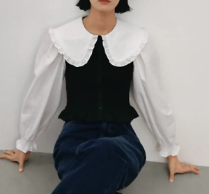 ZARA  Cotton MIXED black & white shirt  Peter Pan Ruffle-trimmed collar SIZE M