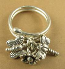 Ring with dragonfly, butterfly, flower. Fine/sterling silver. Adjustable size.